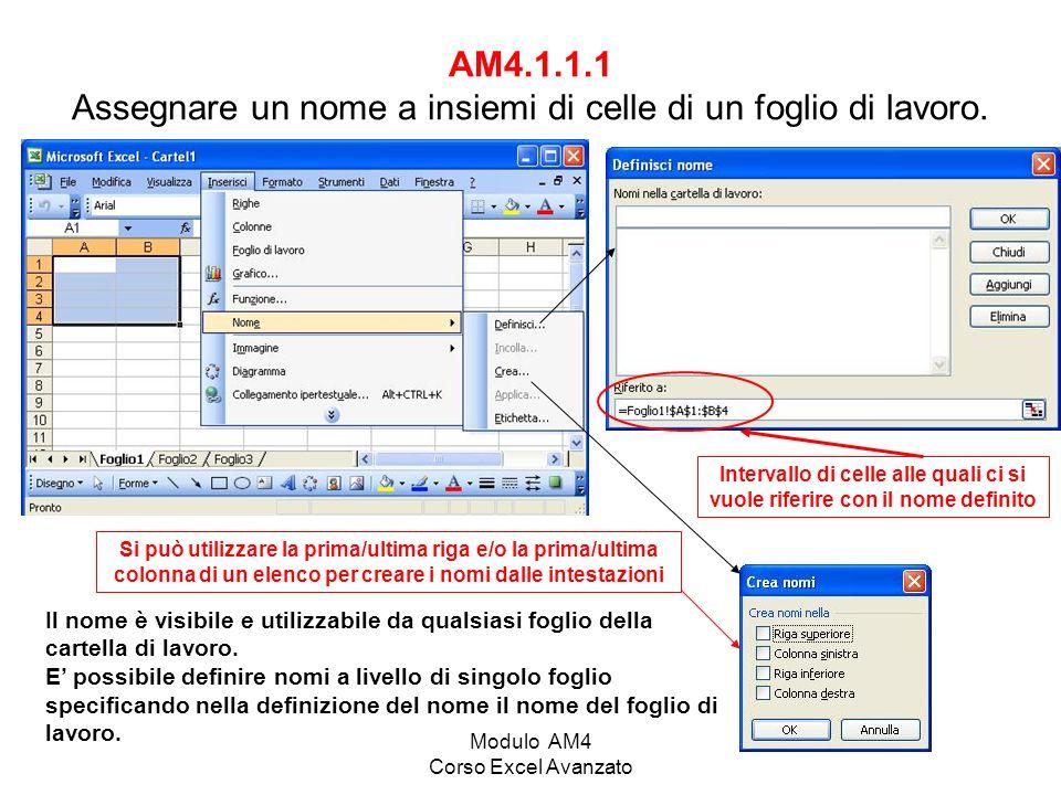 Modulo AM4 Corso Excel Avanzato AM4.1.2.3 Nascondere/mostrare fogli di lavoro.