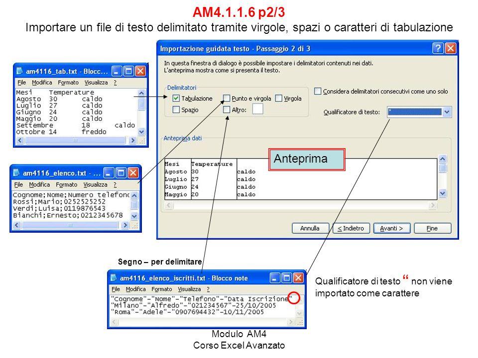 Modulo AM4 Corso Excel Avanzato AM4.1.1.6 p3/3 Importare un file di testo delimitato tramite virgole, spazi o caratteri di tabulazione Esercizio Am4116