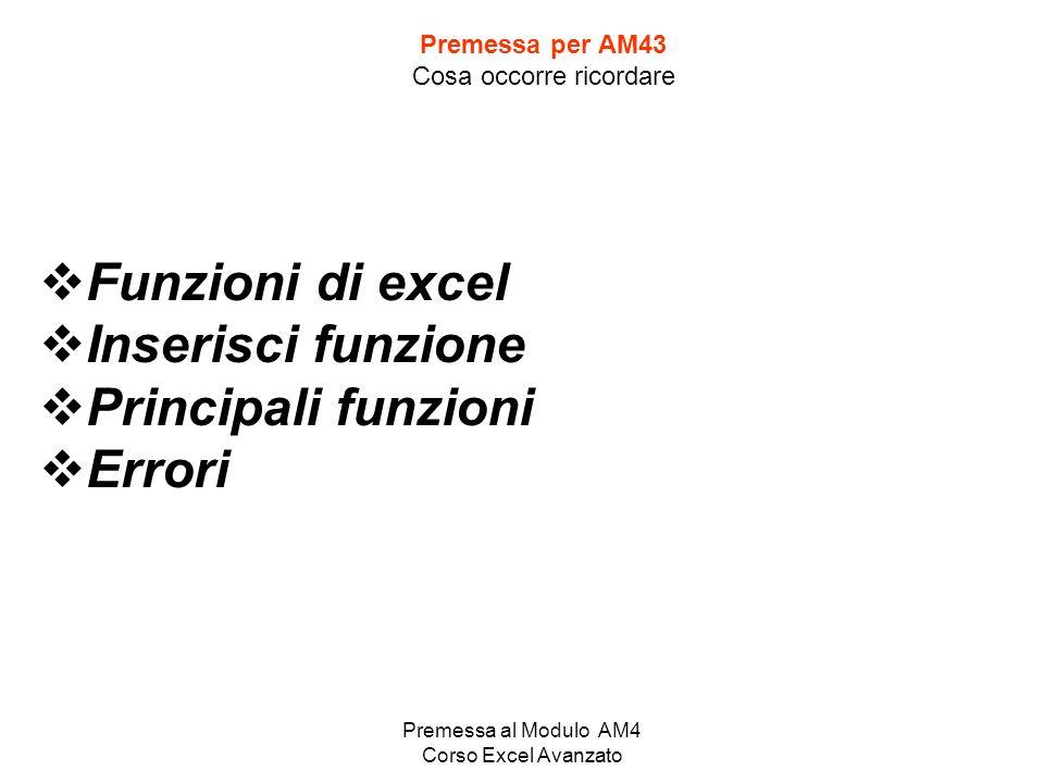 Premessa al Modulo AM4 Corso Excel Avanzato Premessa per AM43 Cosa occorre ricordare Funzioni di excel Inserisci funzione Principali funzioni Errori