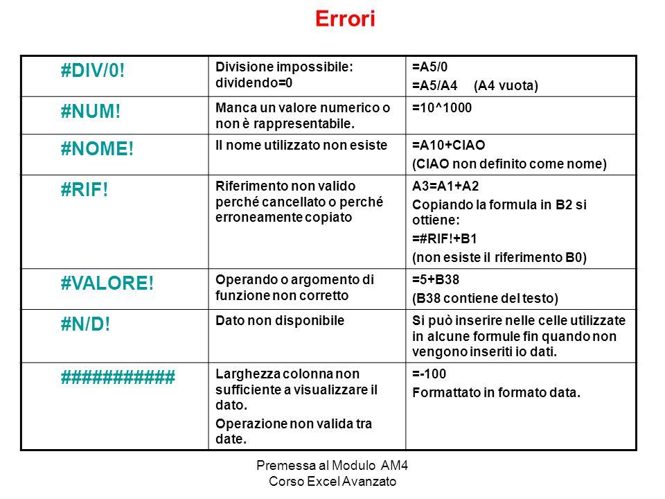 Premessa al Modulo AM4 Corso Excel Avanzato Errori #DIV/0! Divisione impossibile: dividendo=0 =A5/0 =A5/A4 (A4 vuota) #NUM! Manca un valore numerico o