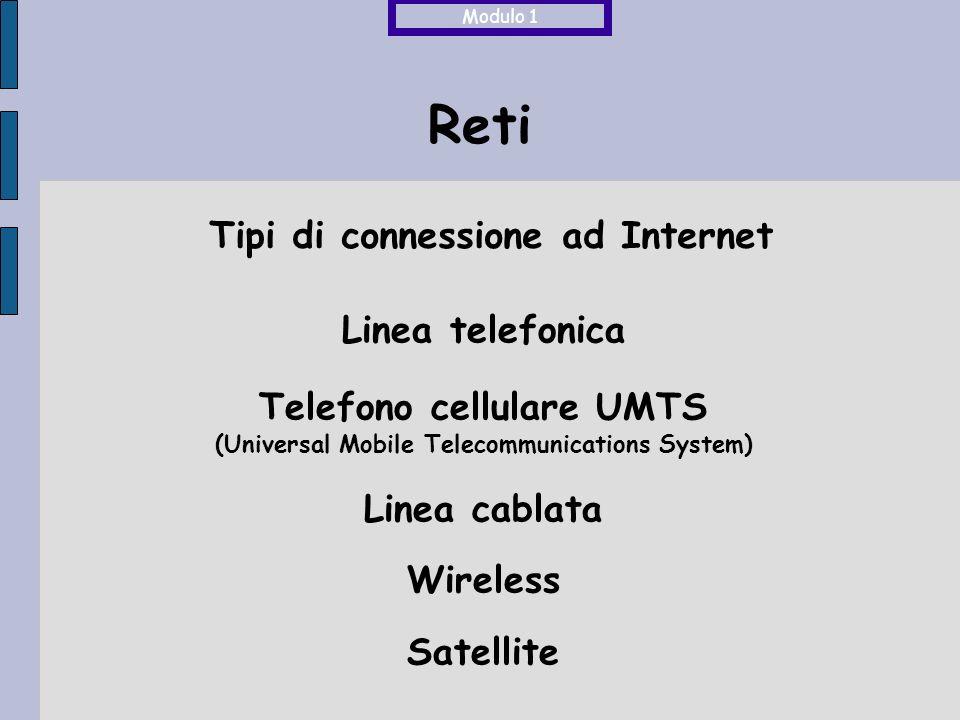 Reti Tipi di connessione ad Internet Linea telefonica Telefono cellulare UMTS (Universal Mobile Telecommunications System) Linea cablata Wireless Satellite Modulo 1