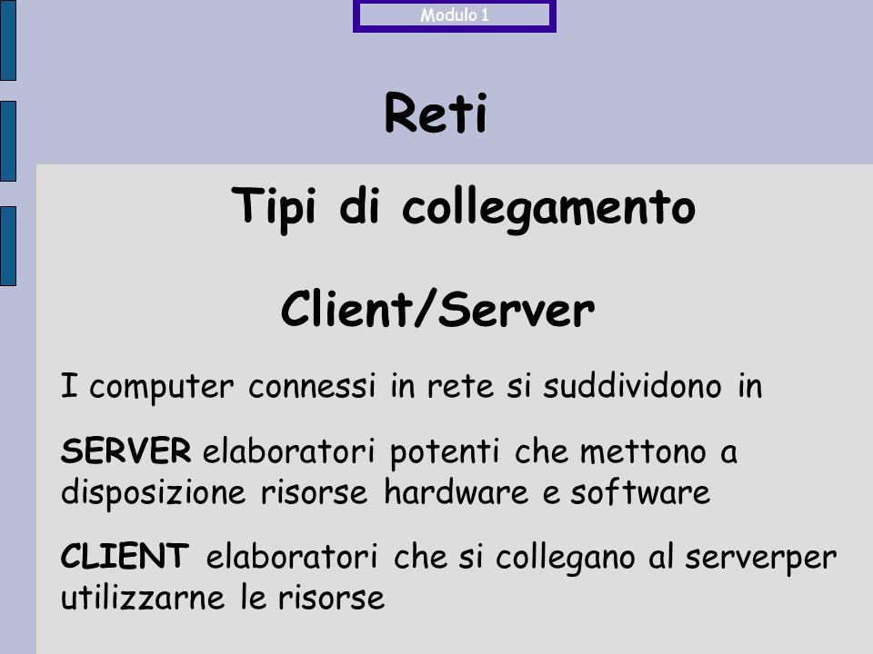 Reti Client/Server I computer connessi in rete si suddividono in SERVER elaboratori potenti che mettono a disposizione risorse hardware e software CLIENT elaboratori che si collegano al serverper utilizzarne le risorse Modulo 1 Tipi di collegamento