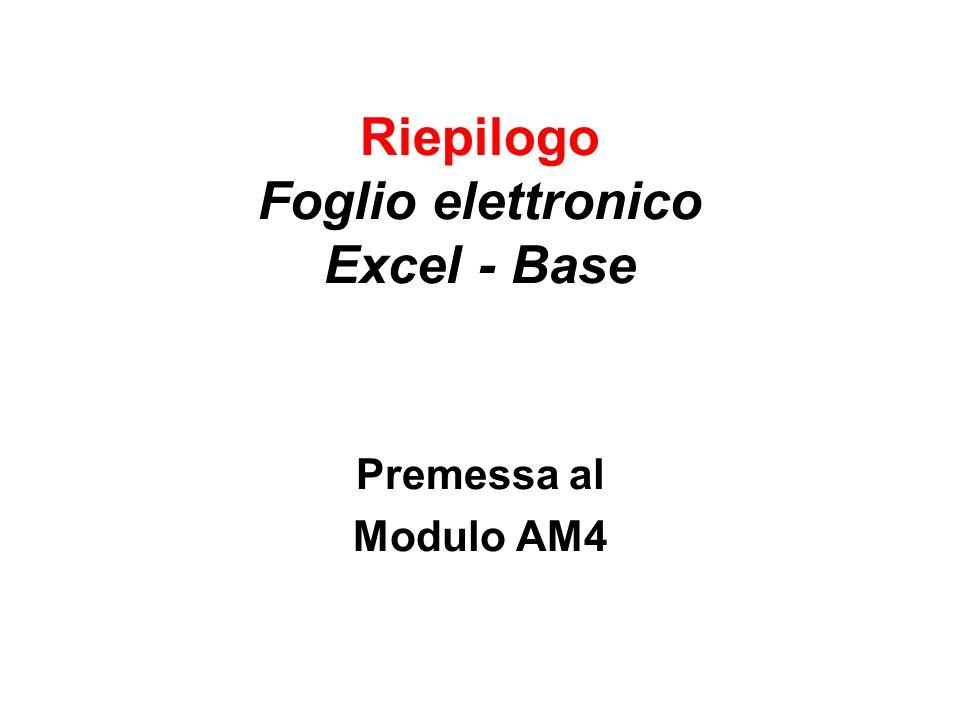 Premessa al Modulo AM4 Corso Excel Avanzato Premessa per AM41 Cosa occorre ricordare La finestra di Excel Riferimenti di cella e fogli di lavoro Cella attiva e casella nome Riferimenti Relativi e Assoluti