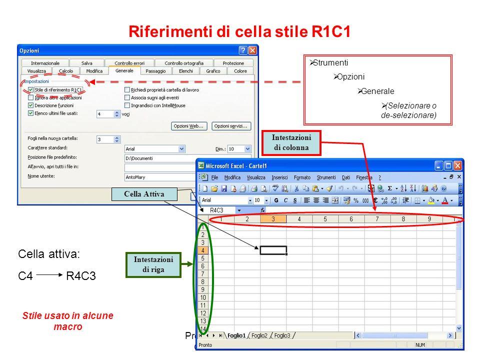 Premessa al Modulo AM4 Corso Excel Avanzato Cella attiva e casella nome Cella Attiva: B2 Nella casella nome è indicato il riferimento della cella attiva Quando ci si posiziona in una cella questa diventa la cella attiva.