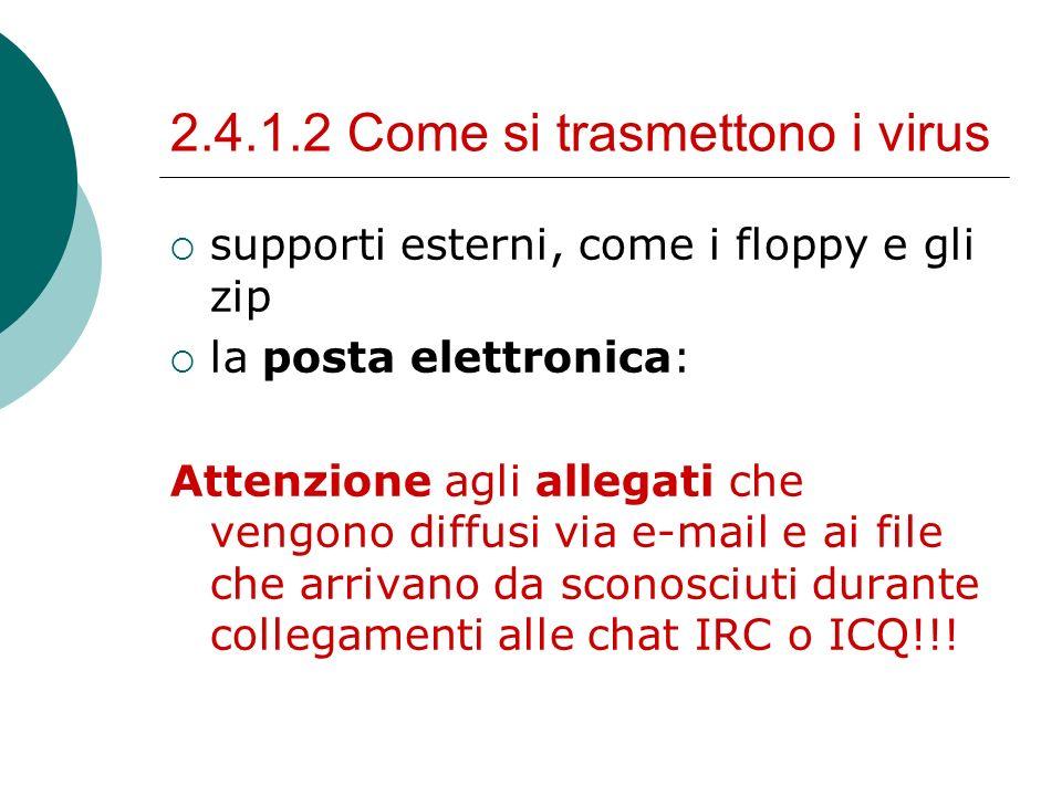 2.4.1.2 Come si trasmettono i virus supporti esterni, come i floppy e gli zip la posta elettronica: Attenzione agli allegati che vengono diffusi via e