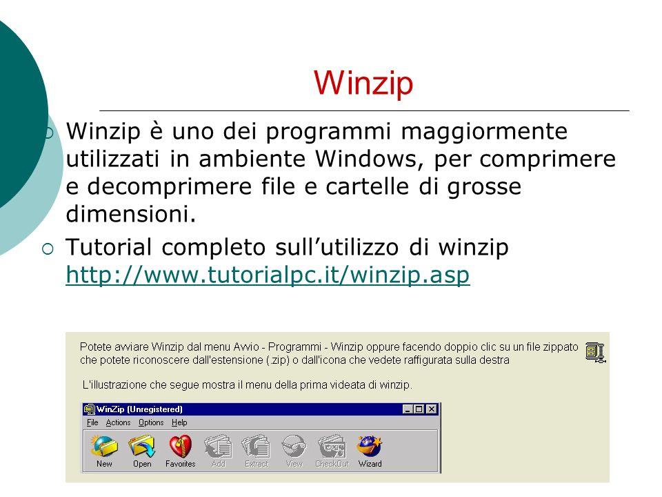 Winzip Winzip è uno dei programmi maggiormente utilizzati in ambiente Windows, per comprimere e decomprimere file e cartelle di grosse dimensioni. Tut