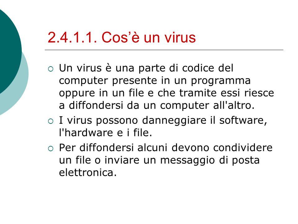 2.4.1.1. Cosè un virus Un virus è una parte di codice del computer presente in un programma oppure in un file e che tramite essi riesce a diffondersi