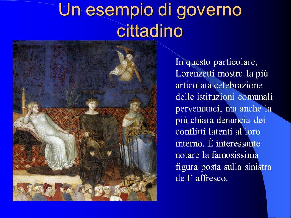 Un esempio di governo cittadino In questo particolare, Lorenzetti mostra la più articolata celebrazione delle istituzioni comunali pervenutaci, ma anc