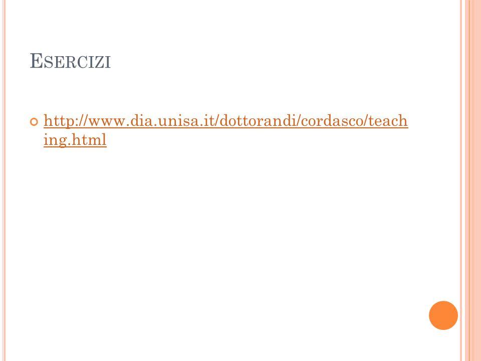 E SERCIZI http://www.dia.unisa.it/dottorandi/cordasco/teach ing.html http://www.dia.unisa.it/dottorandi/cordasco/teach ing.html