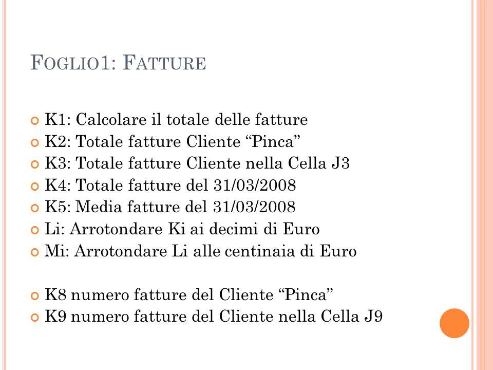 F OGLIO 1: F ATTURE K1: Calcolare il totale delle fatture K2: Totale fatture Cliente Pinca K3: Totale fatture Cliente nella Cella J3 K4: Totale fatture del 31/03/2008 K5: Media fatture del 31/03/2008 Li: Arrotondare Ki ai decimi di Euro Mi: Arrotondare Li alle centinaia di Euro K8 numero fatture del Cliente Pinca K9 numero fatture del Cliente nella Cella J9