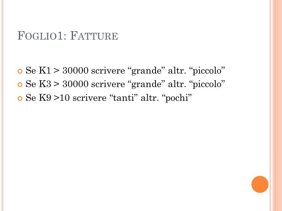F OGLIO 1: F ATTURE Se K1 > 30000 scrivere grande altr. piccolo Se K3 > 30000 scrivere grande altr. piccolo Se K9 >10 scrivere tanti altr. pochi