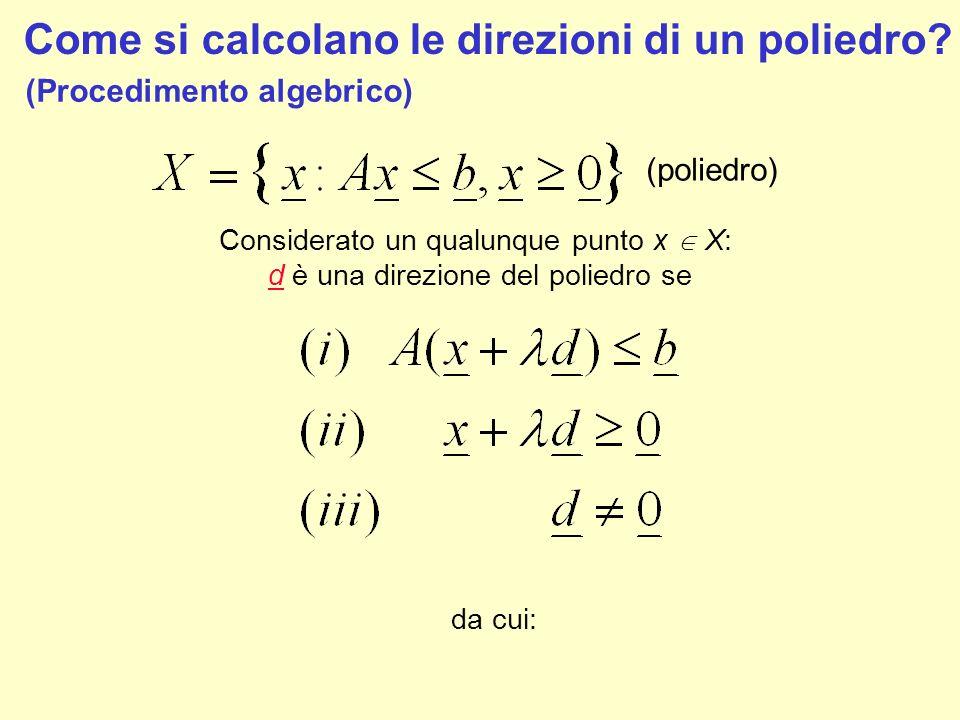 Come si calcolano le direzioni di un poliedro? (Procedimento algebrico) (poliedro) Considerato un qualunque punto x X: d è una direzione del poliedro