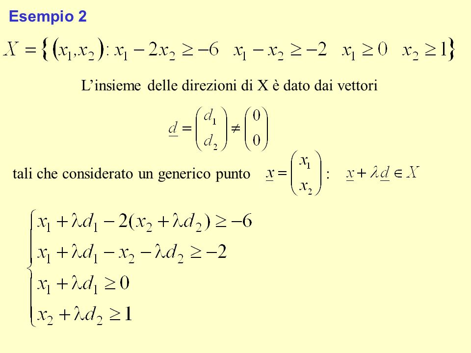 Esempio 2 Linsieme delle direzioni di X è dato dai vettori tali che considerato un generico punto :
