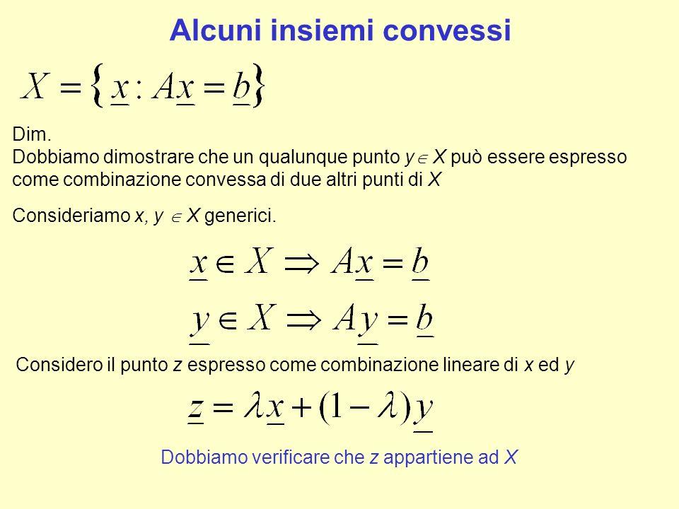 Alcuni insiemi convessi Dim. Dobbiamo dimostrare che un qualunque punto y X può essere espresso come combinazione convessa di due altri punti di X Con