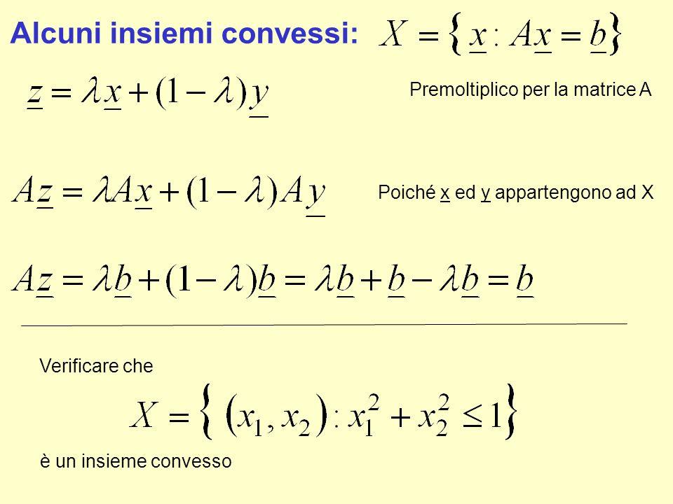 Alcuni insiemi convessi: Premoltiplico per la matrice A Poiché x ed y appartengono ad X Verificare che è un insieme convesso