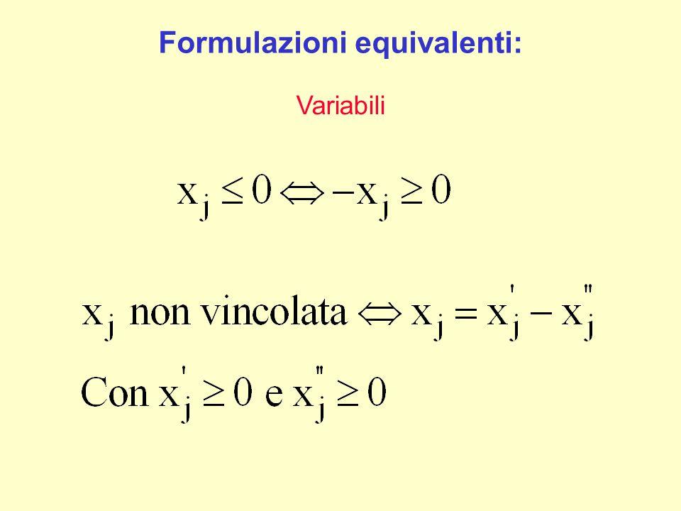 Formulazioni equivalenti: Variabili