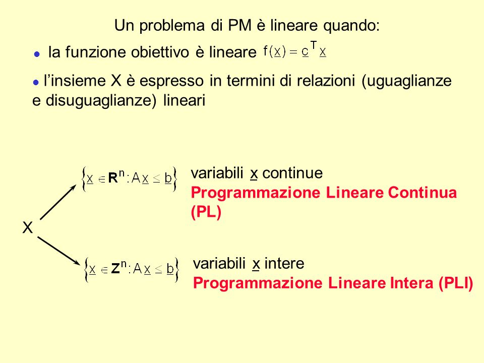 Un problema di PM è lineare quando: l linsieme X è espresso in termini di relazioni (uguaglianze e disuguaglianze) lineari l la funzione obiettivo è l