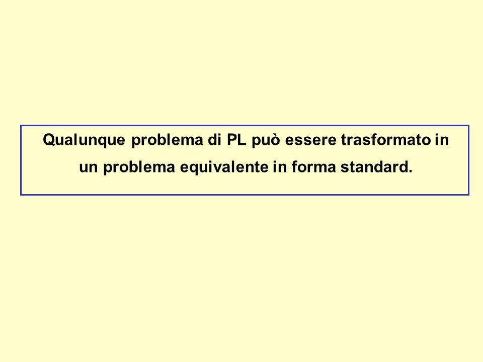Qualunque problema di PL può essere trasformato in un problema equivalente in forma standard.