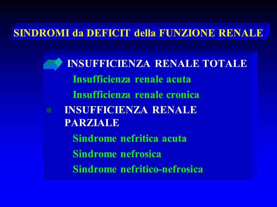 Insufficienza renale acuta Oliguria (<400 ml/24 h) Ipercaliemia Acidosi e uremia (insorgenza rapida) a – iperazotemia prerenale a – iperazotemia prerenale b - iperazotemia glomerulare b - iperazotemia glomerulare c – iperazotemia postrenale c – iperazotemia postrenale a – shock ipovolemico a – shock ipovolemico b – glomerulonefrite rapidamente progressiva b – glomerulonefrite rapidamente progressiva c – ostruzione vie di deflusso urinario c – ostruzione vie di deflusso urinario