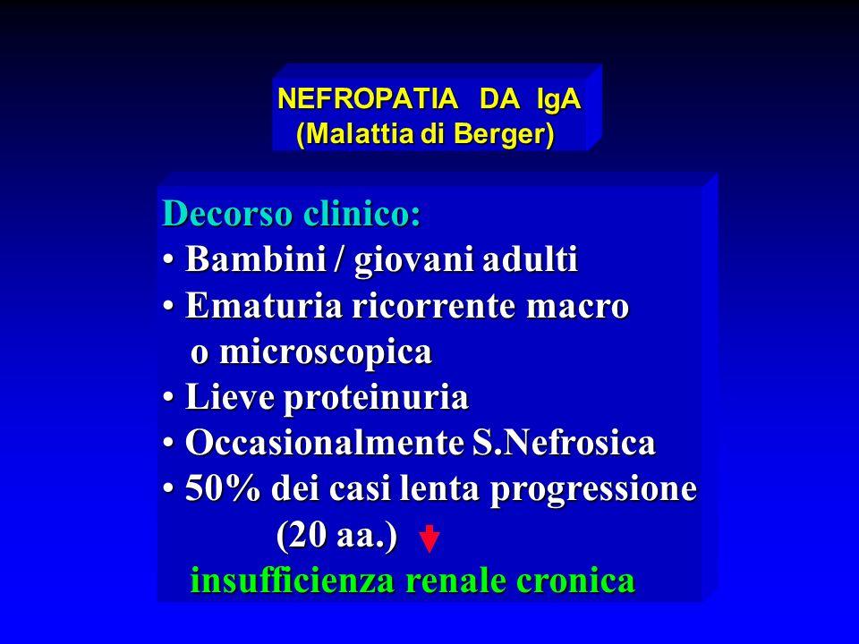 Decorso clinico: Bambini / giovani adulti Bambini / giovani adulti Ematuria ricorrente macro Ematuria ricorrente macro o microscopica o microscopica L