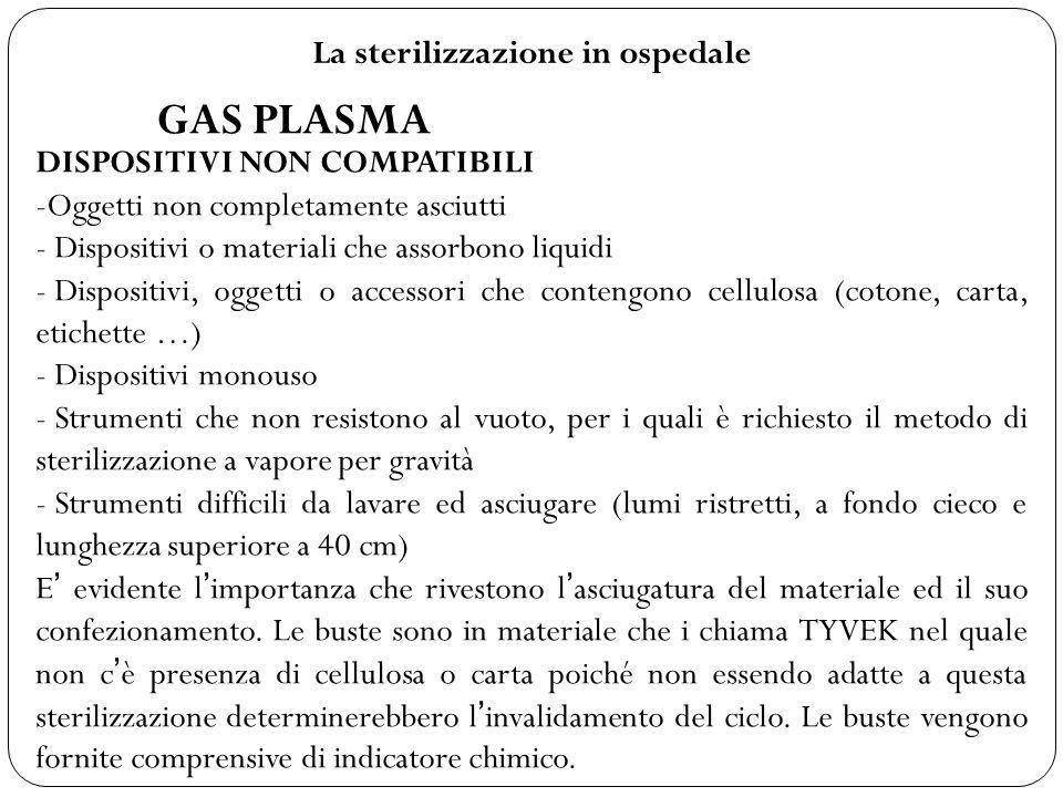 La sterilizzazione in ospedale GAS PLASMA DISPOSITIVI NON COMPATIBILI -Oggetti non completamente asciutti - Dispositivi o materiali che assorbono liqu