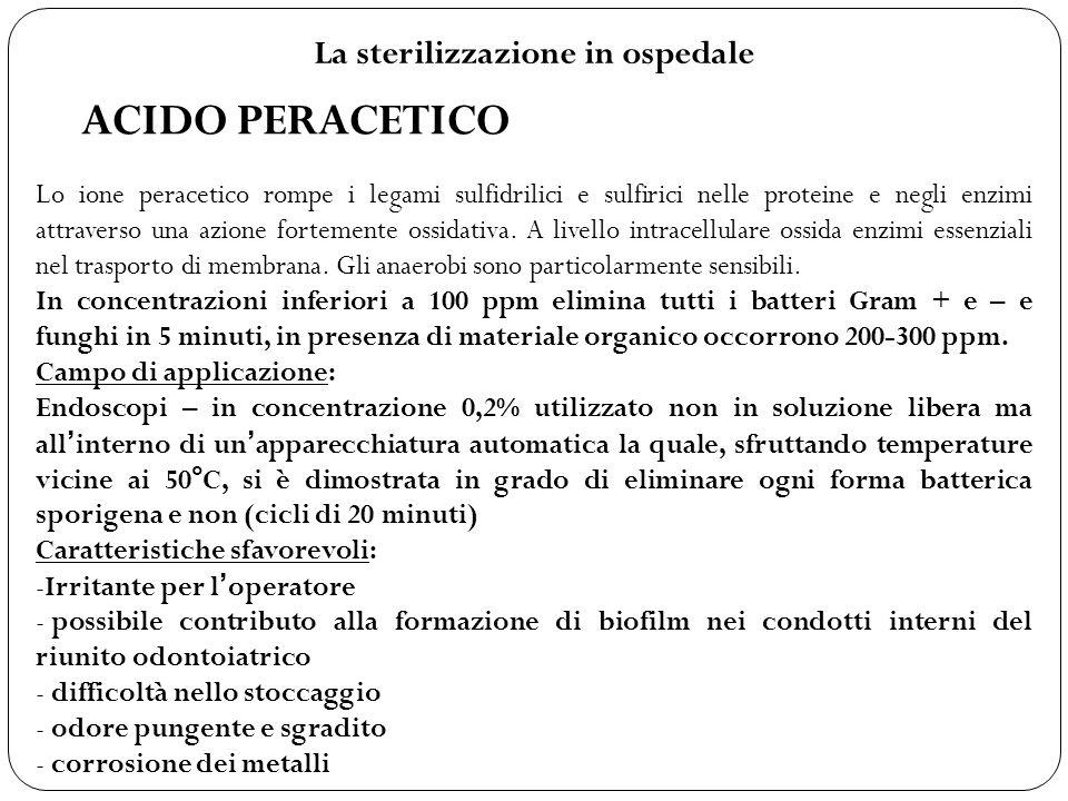 La sterilizzazione in ospedale ACIDO PERACETICO Lo ione peracetico rompe i legami sulfidrilici e sulfirici nelle proteine e negli enzimi attraverso un