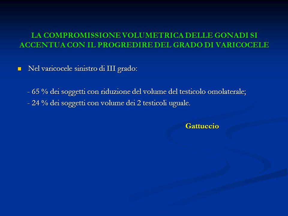 LA COMPROMISSIONE VOLUMETRICA DELLE GONADI SI ACCENTUA CON IL PROGREDIRE DEL GRADO DI VARICOCELE Nel varicocele sinistro di III grado: Nel varicocele
