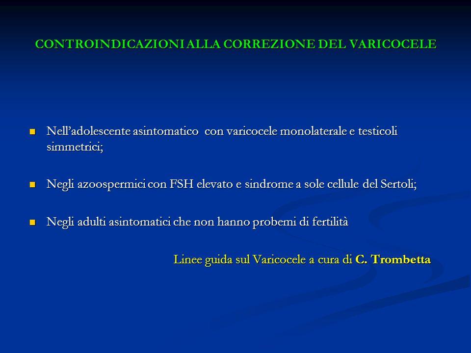 CONTROINDICAZIONI ALLA CORREZIONE DEL VARICOCELE Nelladolescente asintomatico con varicocele monolaterale e testicoli simmetrici; Nelladolescente asin