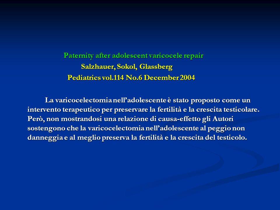 Paternity after adolescent varicocele repair Paternity after adolescent varicocele repair Salzhauer, Sokol, Glassberg Salzhauer, Sokol, Glassberg Pedi