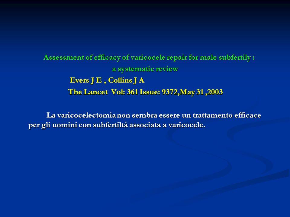 Assessment of efficacy of varicocele repair for male subfertily : Assessment of efficacy of varicocele repair for male subfertily : a systematic revie