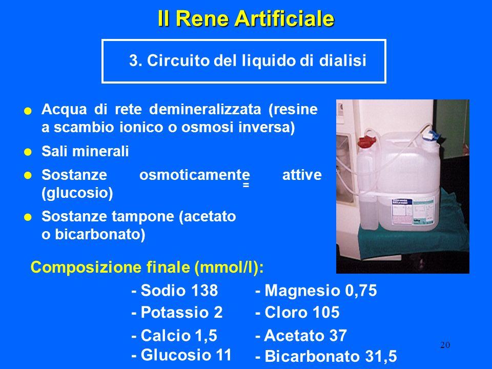 20 Il Rene Artificiale 3. Circuito del liquido di dialisi Acqua di rete demineralizzata (resine a scambio ionico o osmosi inversa) Sali minerali Sosta