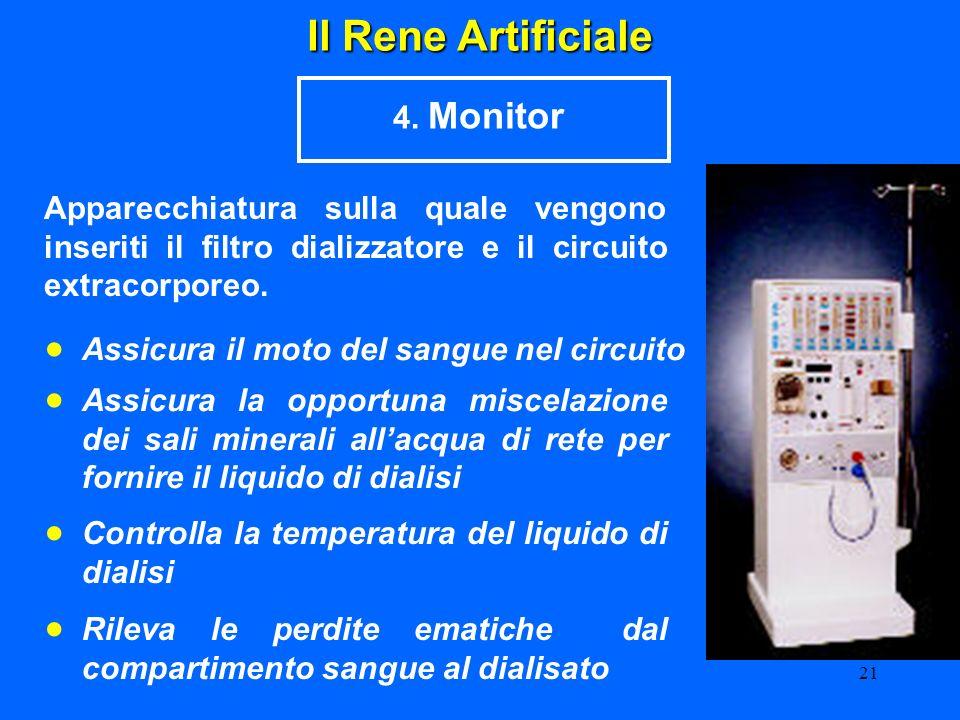 21 Il Rene Artificiale 4. Monitor Apparecchiatura sulla quale vengono inseriti il filtro dializzatore e il circuito extracorporeo. Assicura il moto de