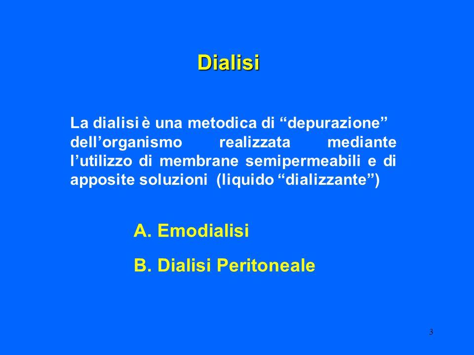 3 Dialisi La dialisi è una metodica di depurazione dellorganismo realizzata mediante lutilizzo di membrane semipermeabili e di apposite soluzioni (liq
