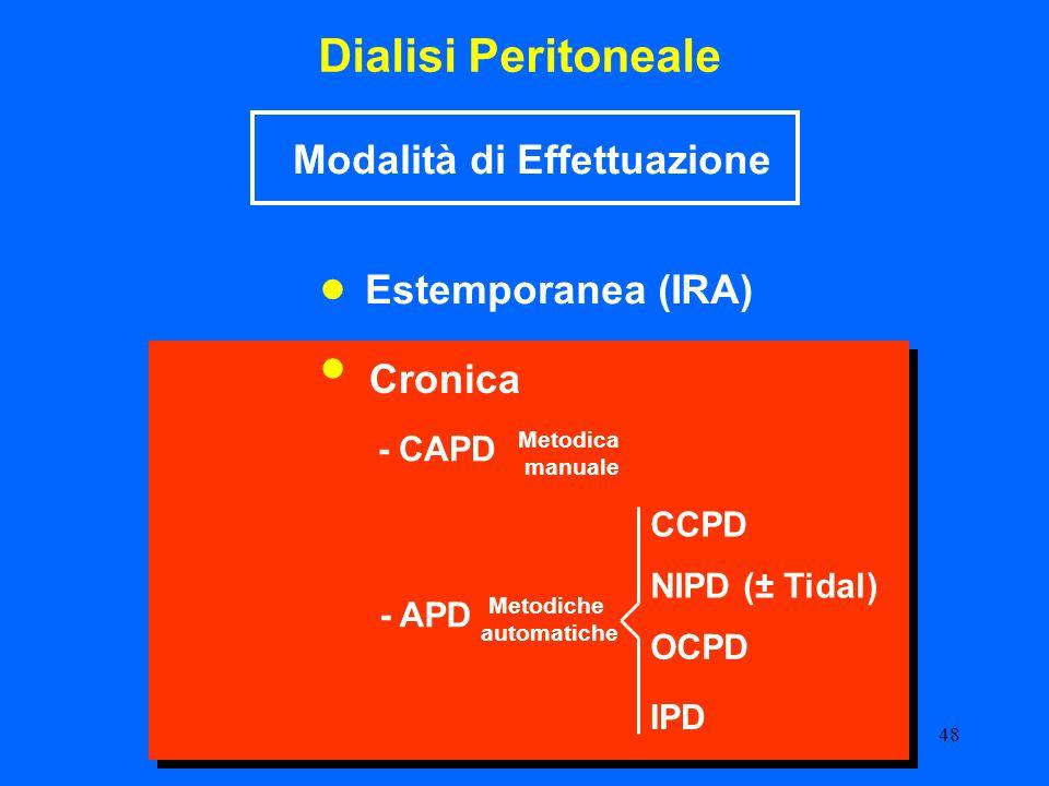 48 Dialisi Peritoneale CCPD - APD NIPD (± Tidal) - CAPD OCPD Cronica Estemporanea (IRA) Modalità di Effettuazione Metodiche automatiche Metodica manua