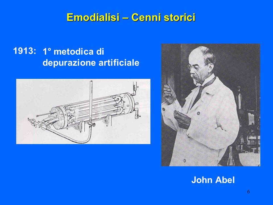 6 John Abel Emodialisi – Cenni storici 1° metodica di depurazione artificiale 1913:
