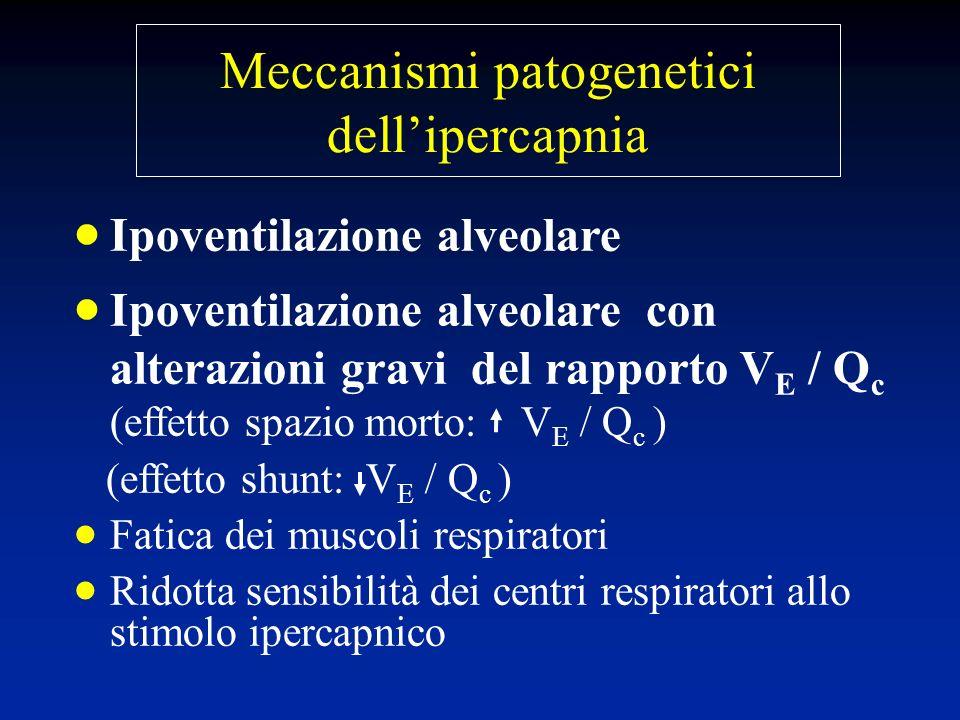 Ipoventilazione alveolare Ipoventilazione alveolare con alterazioni gravi del rapporto V E / Q c (effetto spazio morto: V E / Q c ) (effetto shunt: V