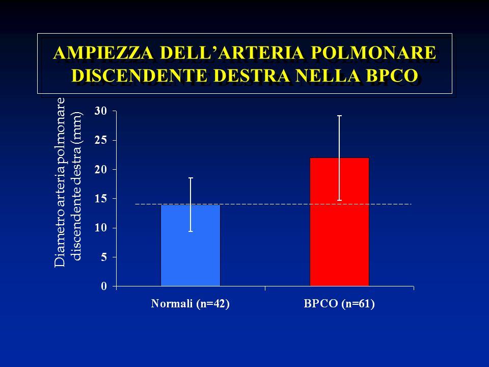 AMPIEZZA DELLARTERIA POLMONARE DISCENDENTE DESTRA NELLA BPCO Diametro arteria polmonare discendente destra (mm)