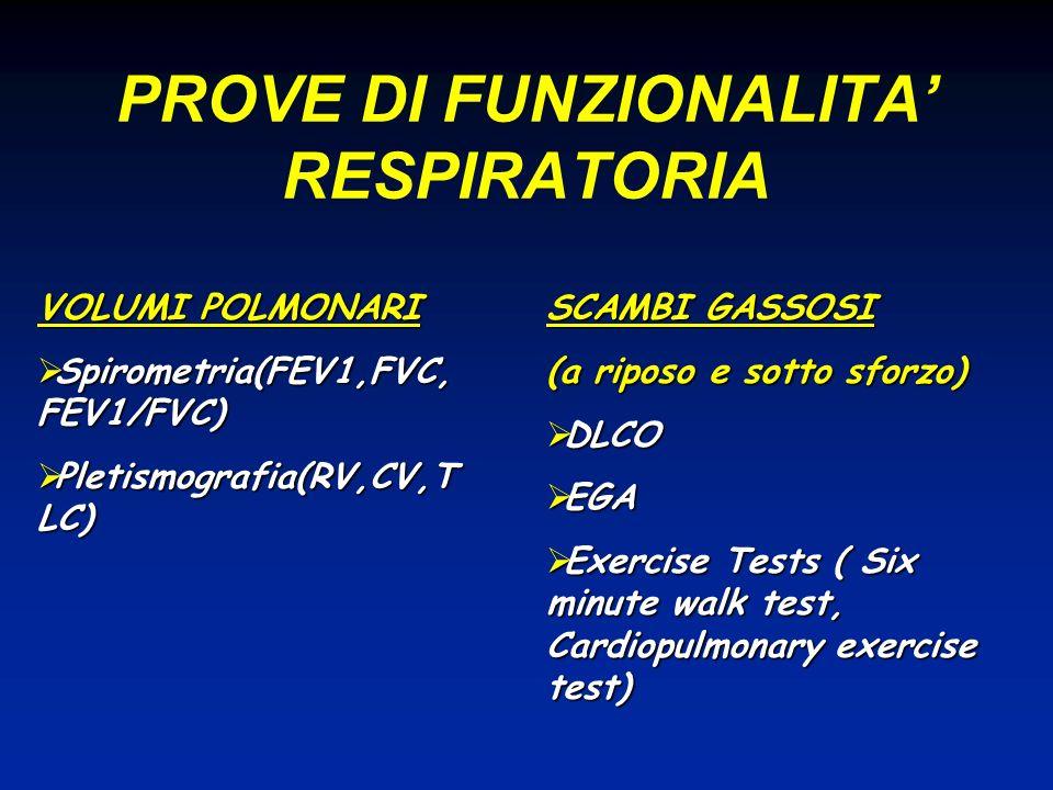 PROVE DI FUNZIONALITA RESPIRATORIA VOLUMI POLMONARI Spirometria(FEV1,FVC, FEV1/FVC) Spirometria(FEV1,FVC, FEV1/FVC) Pletismografia(RV,CV,T LC) Pletism