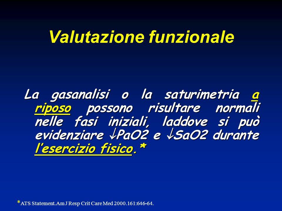 La gasanalisi o la saturimetria a riposo possono risultare normali nelle fasi iniziali, laddove si può evidenziare PaO2 e SaO2 durante lesercizio fisi