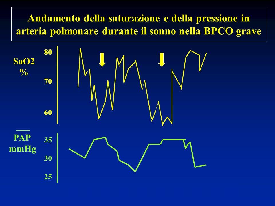 Andamento della saturazione e della pressione in arteria polmonare durante il sonno nella BPCO grave 80 70 60 35 30 25 23 0 01 02 03 04 05 06 07 ore P