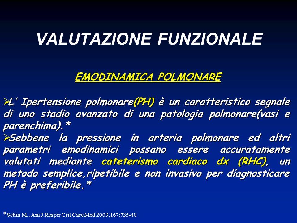 VALUTAZIONE FUNZIONALE EMODINAMICA POLMONARE L Ipertensione polmonare(PH) è un caratteristico segnale di uno stadio avanzato di una patologia polmonar