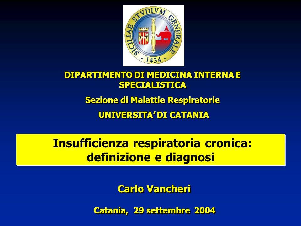 Insufficienza respiratoria cronica: definizione e diagnosi DIPARTIMENTO DI MEDICINA INTERNA E SPECIALISTICA Sezione di Malattie Respiratorie UNIVERSIT