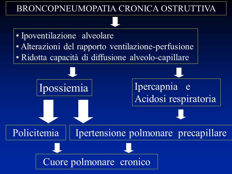 BRONCOPNEUMOPATIA CRONICA OSTRUTTIVA Ipercapnia e Acidosi respiratoria Ipossiemia Ipertensione polmonare precapillare Ipoventilazione alveolare Altera