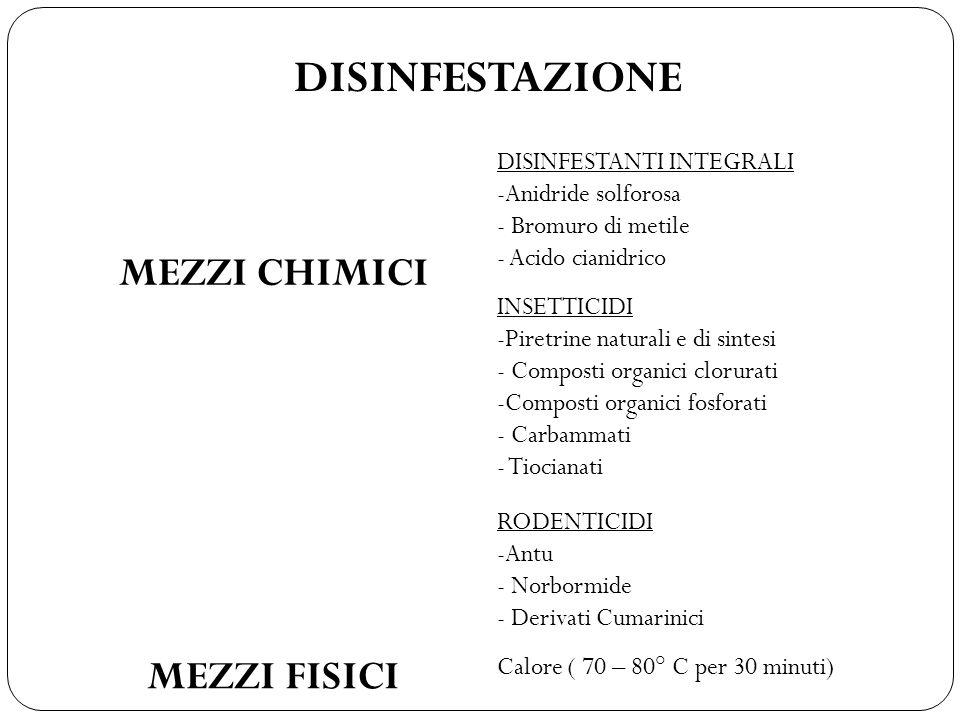 DISINFESTAZIONE MEZZI CHIMICI DISINFESTANTI INTEGRALI -Anidride solforosa - Bromuro di metile - Acido cianidrico INSETTICIDI -Piretrine naturali e di