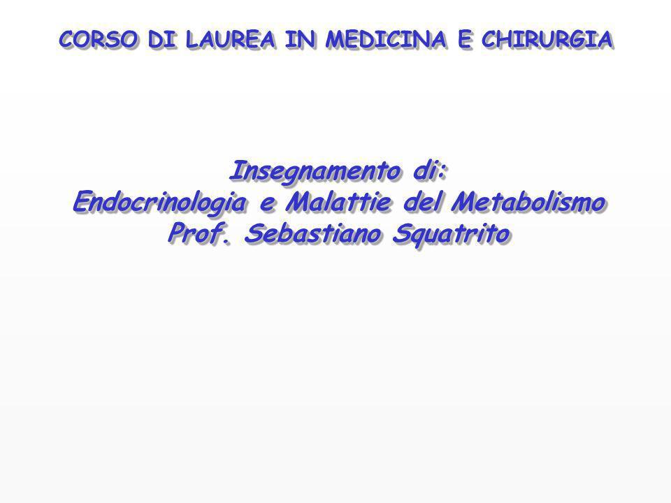 CORSO DI LAUREA IN MEDICINA E CHIRURGIA Insegnamento di: Endocrinologia e Malattie del Metabolismo Prof. Sebastiano Squatrito Insegnamento di: Endocri