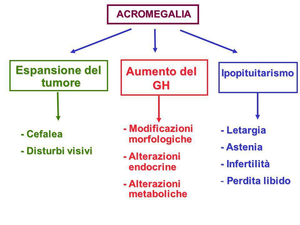 ACROMEGALIA Espansione del tumore tumore Aumento del GH - Cefalea - Disturbi visivi - Modificazioni morfologiche morfologiche - Alterazioni endocrine
