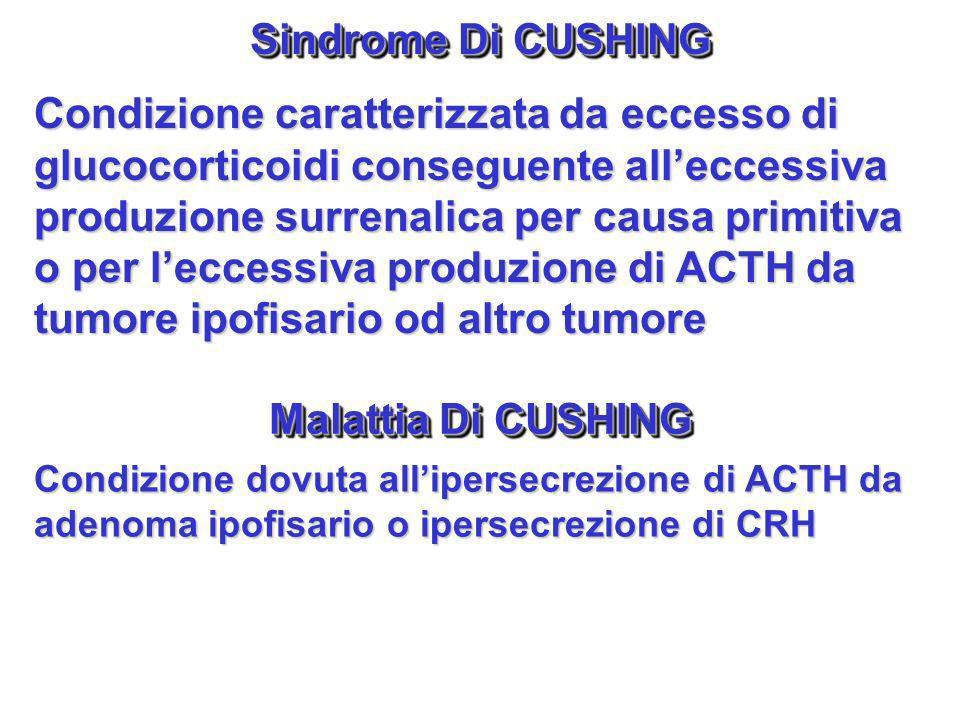Sindrome Di CUSHING Condizione caratterizzata da eccesso di glucocorticoidi conseguente alleccessiva produzione surrenalica per causa primitiva o per