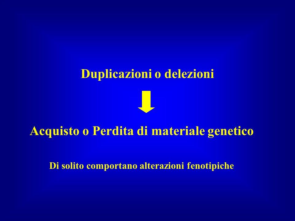 Duplicazioni o delezioni Acquisto o Perdita di materiale genetico Di solito comportano alterazioni fenotipiche