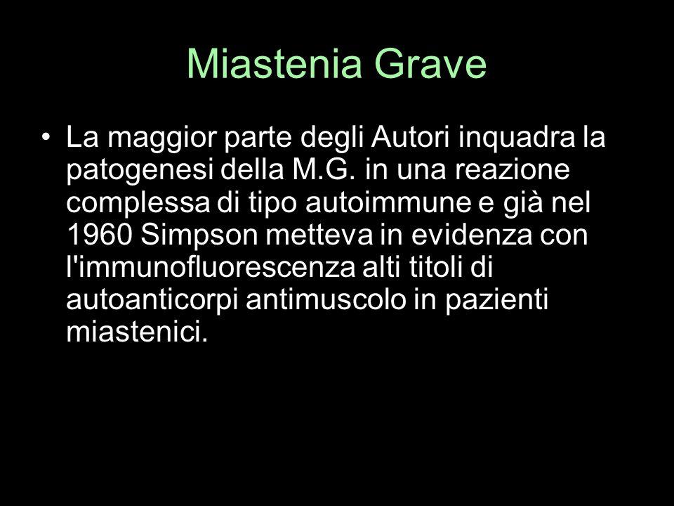 Miastenia Grave La maggior parte degli Autori inquadra la patogenesi della M.G. in una reazione complessa di tipo autoimmune e già nel 1960 Simpson me