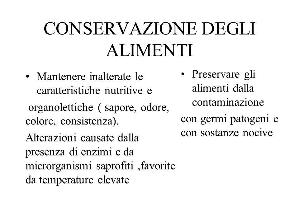 CONSERVAZIONE DEGLI ALIMENTI Mantenere inalterate le caratteristiche nutritive e organolettiche ( sapore, odore, colore, consistenza). Alterazioni cau